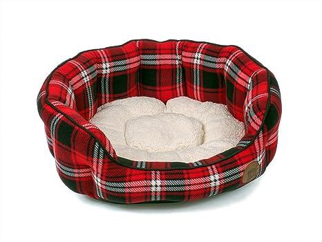 Petface - Cama Ovalada para Perro, tamaño pequeño, diseño de Cuadros Escoceses Rojos