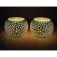 Tied Ribbons Green Fushion Mosaic Glass TeaLight Holder Votive, Set of 2 (Multicolour)