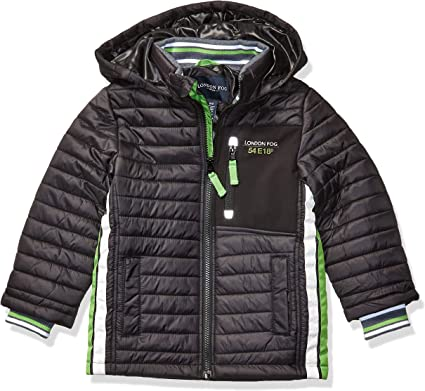 London Fog Boys Big Color Blocked Puffer Jacket Coat with