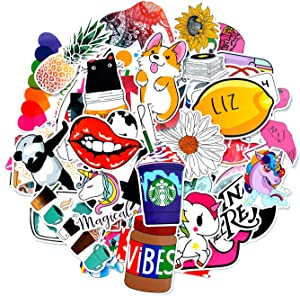 Cute VSCO Stickers for Hydro Flask, 53 Pcs Waterproof Vinyl Stickers for Laptop, Luggage, Skateboard, Water Bottle, Guitar, Phone, Trendy Aesthetic Stickers for Kids, Girls, Teens