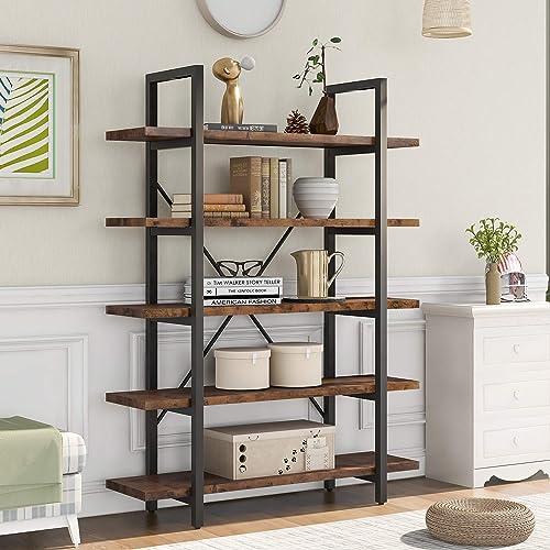 Goujxcy 5-Tier Modern Industrial Bookcase