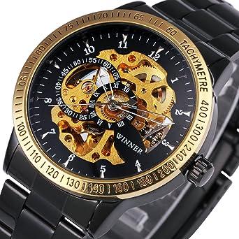 Ganador Hombres Lujo Golden movimiento relojes primera marca Full acero inoxidable mecánico automático esqueleto Dial + caja de regalo: Amazon.es: Relojes