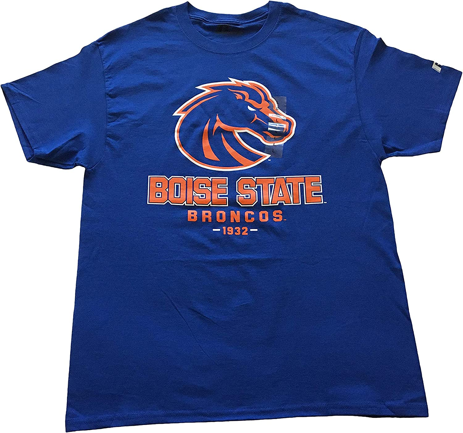 Russel Boise State Broncos Printed Fan T-Shirts 100/% Cotton Blue and Orange