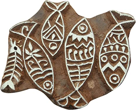 Floral Pattern Brown Textile Wooden Block Hand Carved Wood Stamp Printing Blocks