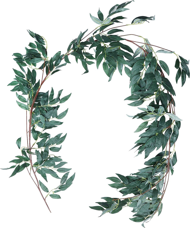 Soir/ée et Jardin Eucalyptus Guirlande Planteur Artificiel Verdure Feuille Artificielle 1,7 m d/'Int/érieur Lot de 2 Feuillage Artificiel Fausse Feuilles d/'Eucalyptus pour la D/écoration de Mariages