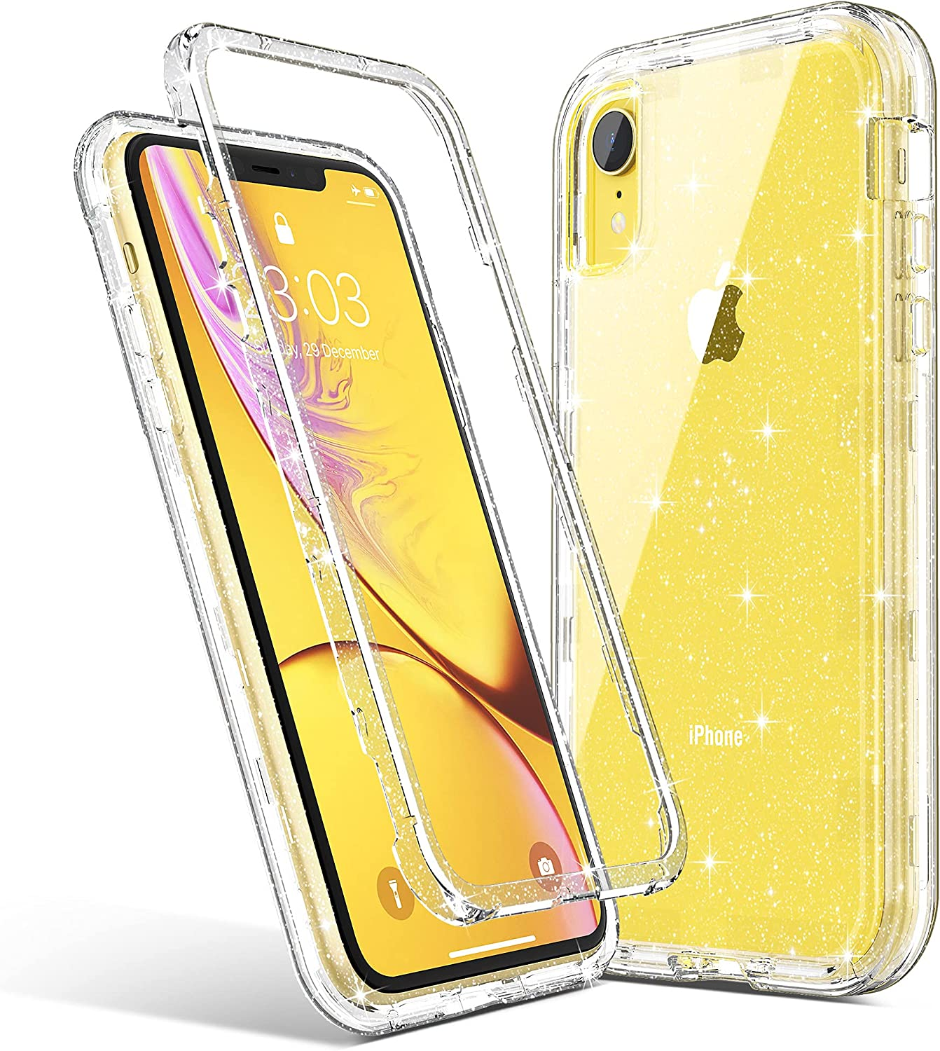 ULAK Stylish Glitter Clear Case for iPhone XR, Heavy Duty Hybrid Hard PC Back Cover with Shock Absorption Bumper and Front Frame Anti-Scratch Premium Phone Case for iPhone XR 6.1 inch, Glitter