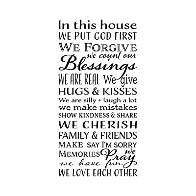 In this House we put God first We forgive Vinyl Wall Decal by Wild Eyes Signs, Living room subway art, Family Rules vinyl removable quote, wall decal, vinyl decal HH2128