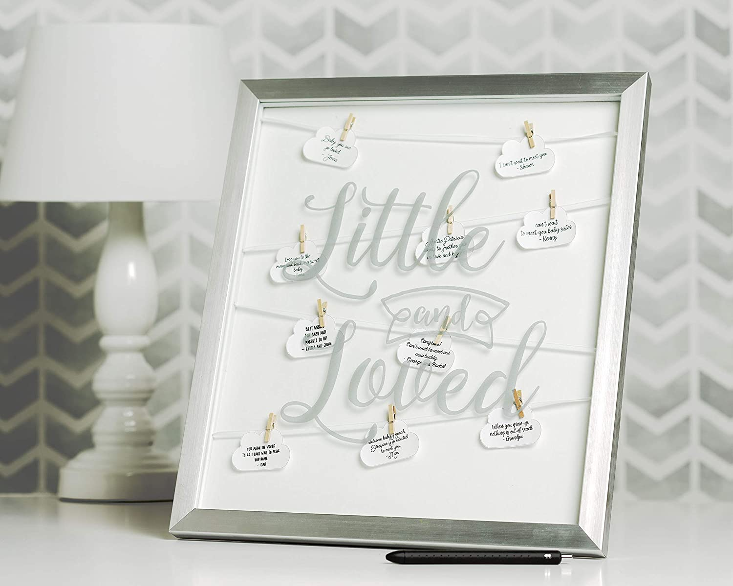Unique Baby Gift Kate /& Milo Little and Loved Signature Frame Modern Nursery Decor
