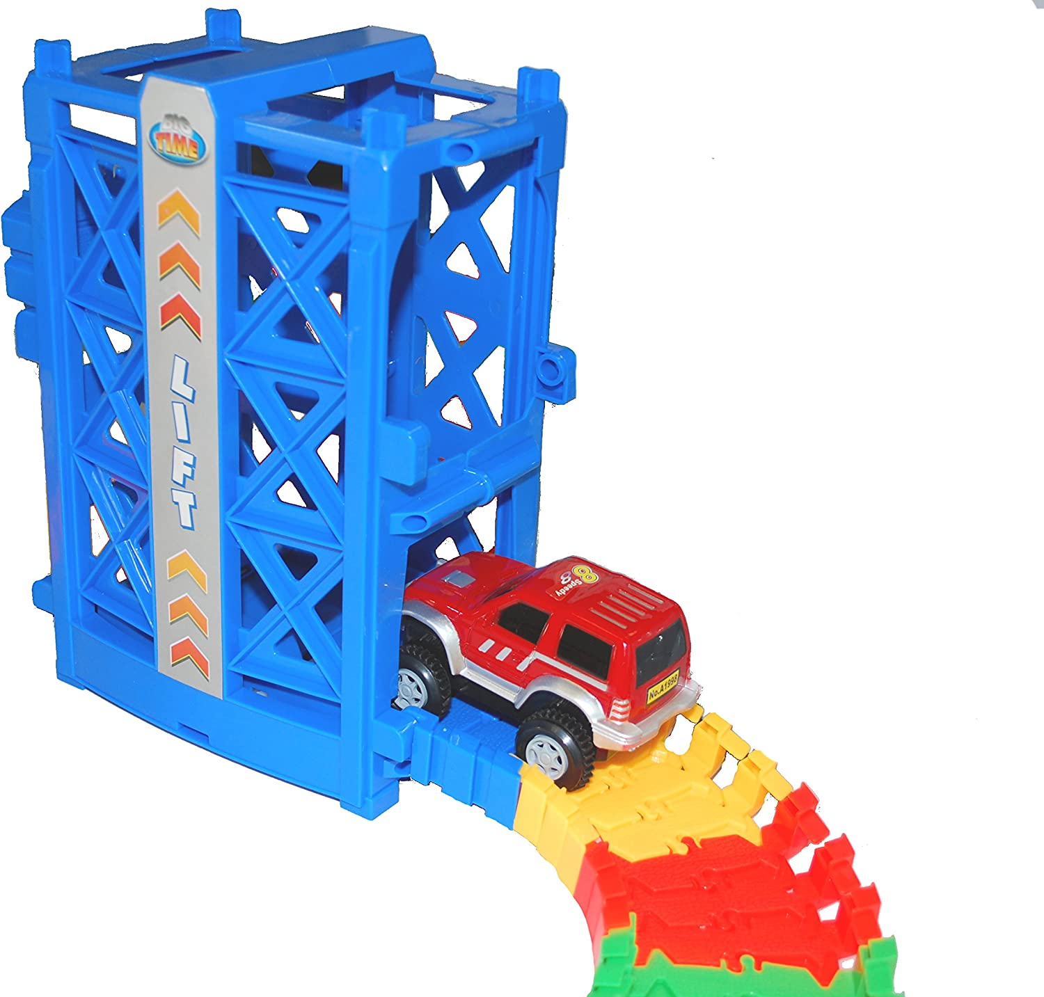 Deluxe Bend and Flex Track Set with 3 Electric Cars MMP Living Super Snap Speedway Bridge Elevator Tunnels Over 318 Pieces Track Merge and Accessories ramp