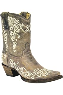 cb709602b Amazon.com | CORRAL A3550 White Leather Glitter Inlay Ankle Boot ...