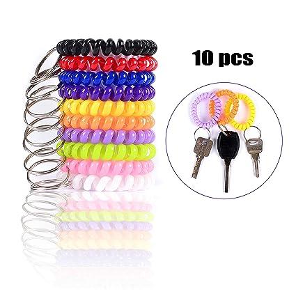 Spiral Keychain Rings Coil Bracelet Holder Stretchy Wrist Key Chains for  Office Work Sauna eaf311b00