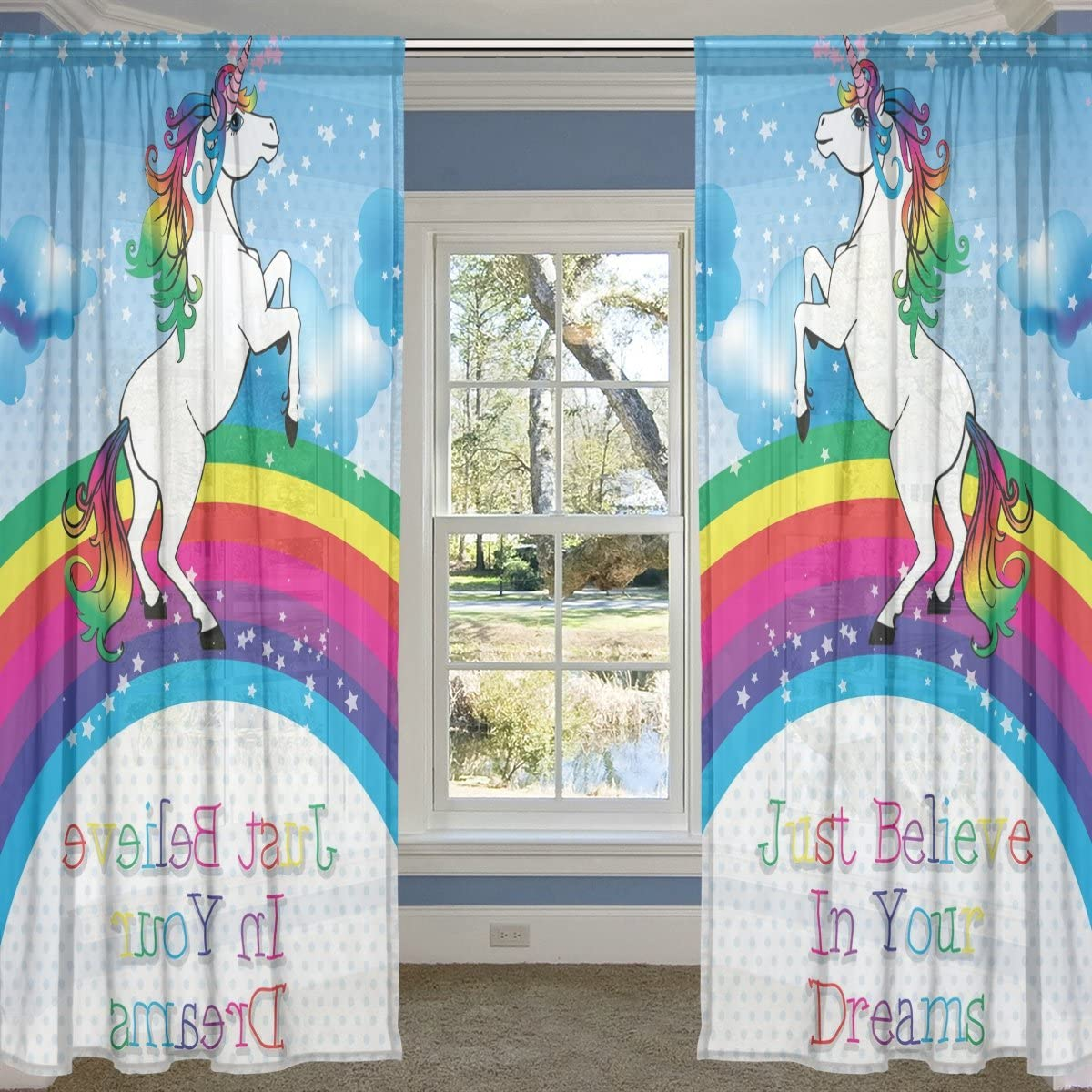 ALIREA Unicorn with A Rainbow and Motivation Quote Sheer Curtain Panels Tulle Polyester Voile Window Treatment Panel Curtains for Bedroom Living Room Home Decor, 55×84 inches, 2 Panels Set