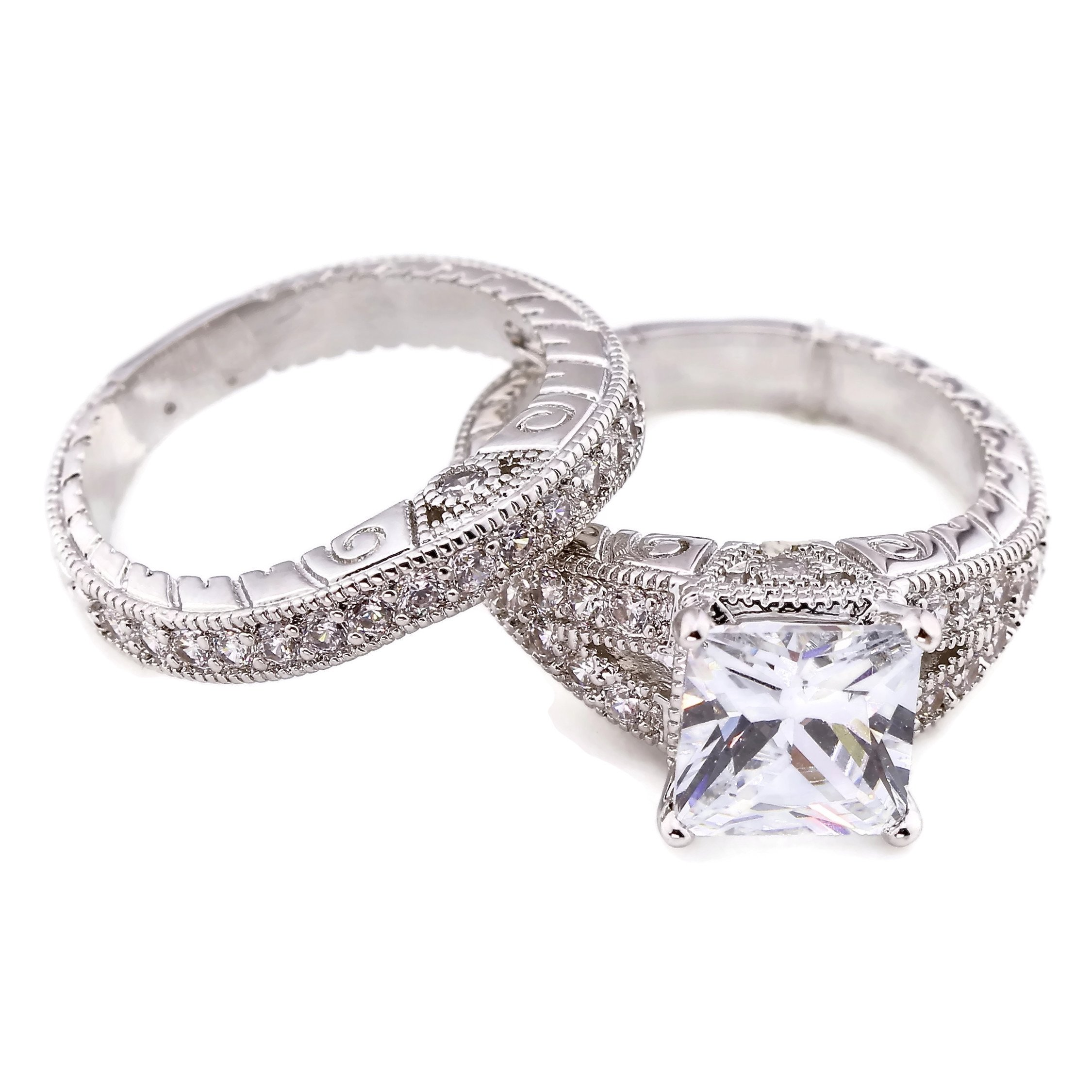 My Jewelry Passion Hand Engraved 2CT Princess Cut Antique Style Cubic Zirconia CZ Engagement Wedding Ring Set Size 8