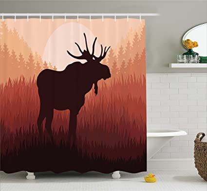 Ambesonne Moose Shower Curtain Antlers In Wild Alaska Forest Rusty Abstract Landscape Design Deer Theme