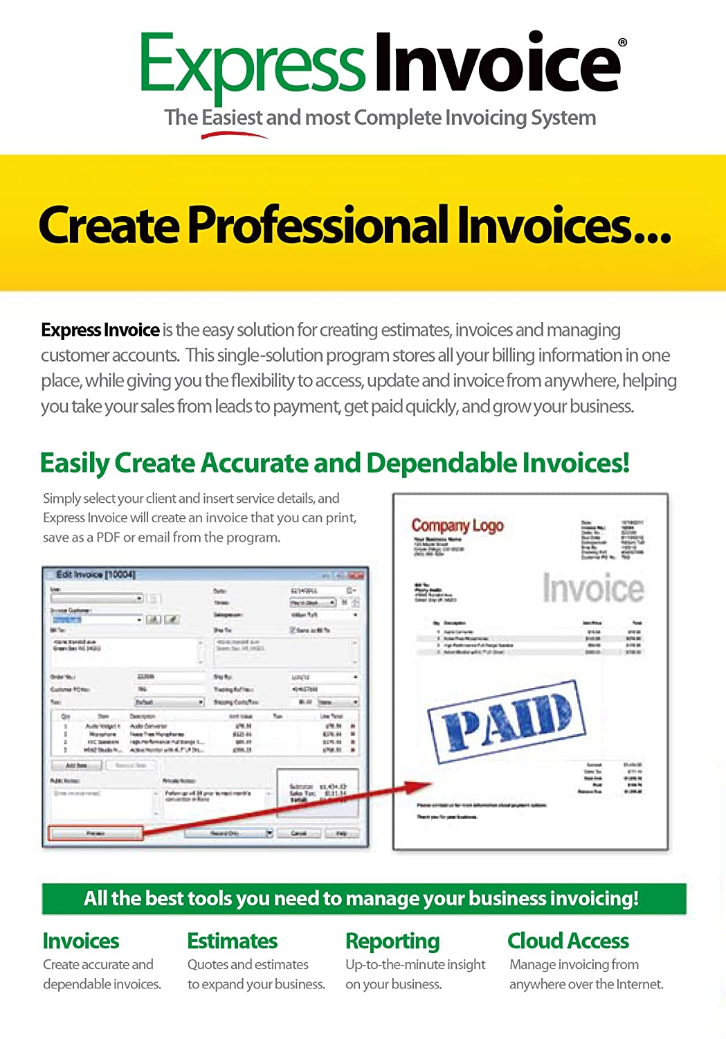 Amazoncom Express Invoice Professional Invoicing Software PCMac - Invoice making software free online fabric store coupon