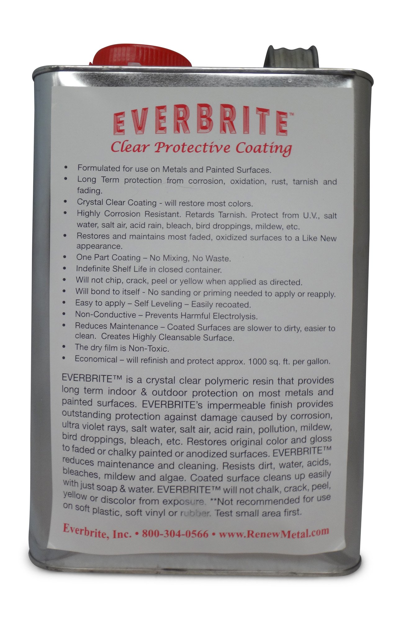 EVERBRITE 128 Oz. Clear, Protective Coating for Metal (Gallon)