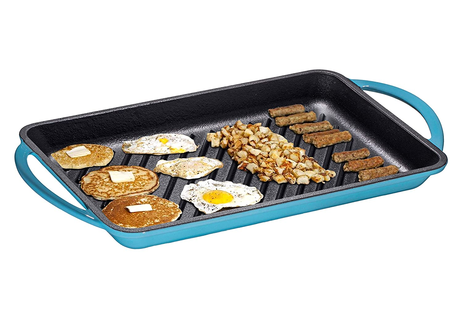 "Enameled Cast-Iron Rectangular Grill Pan, Loop Handles, Turquoise 9.5"" x 13.5"""