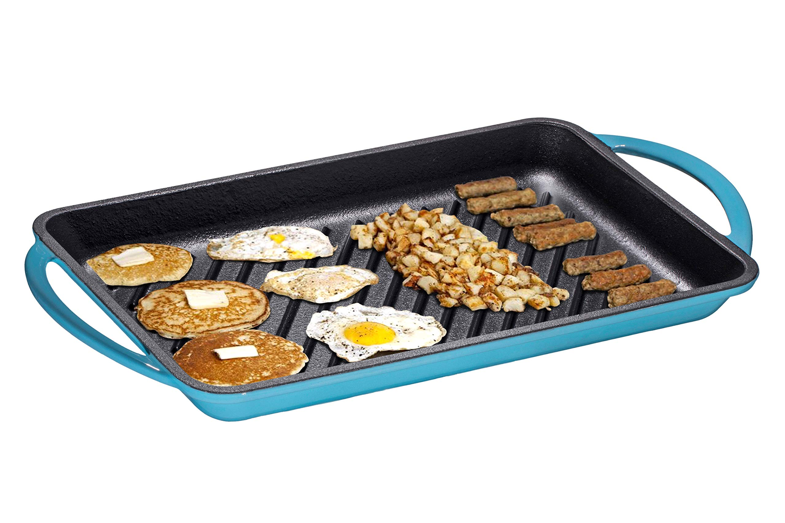 Enameled Cast-Iron Rectangular Grill Pan, Loop Handles, Turquoise 9.5'' x 13.5'' by Bruntmor