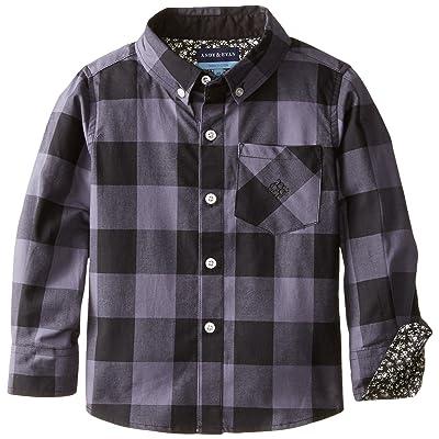 Andy & Evan Little Boys' Grey Buffalo Check Shirt