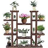"VIVOSUN Wood Plant Stand Indoor Outdoor 9 Tier Wooden Plant Shelf 17 Potted Flower Shelf Plant Rack Holder 44.5"" High for Pat"
