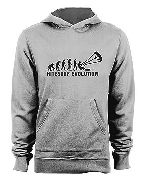 t-shirteria Sudadera con Capucha Evolution - Evolution - Kitesurf Kitesurf - Sport - Humor - de Algodón, Gris, XXL: Amazon.es: Deportes y aire libre