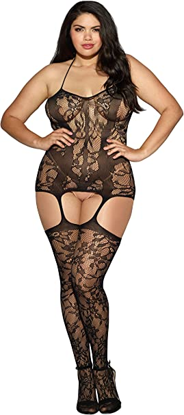 Dreamgirl Women\'s Plus Size Queen Sizetrinidad Halter Garter Dress with  Attached Stockings