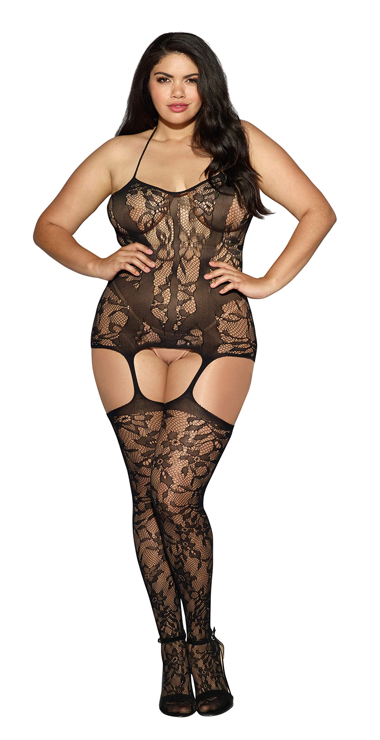 d118cfc6097 Dreamgirl Women s Plus-Size Trinidad Halter Garter Dress With Attached  Stockings product image
