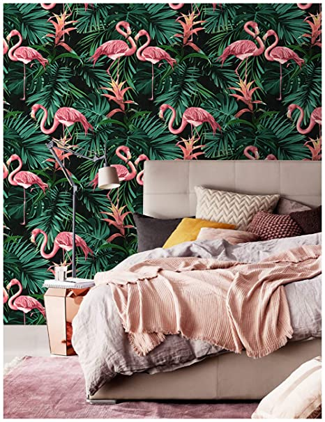Haokhome 83008 Tropical Banana Leaf Wallpaper Flamingo Birds Wallpaper 20 8 X 33ft Green Pink Yellow Black Art Exotic Home Removable Decorative Palm