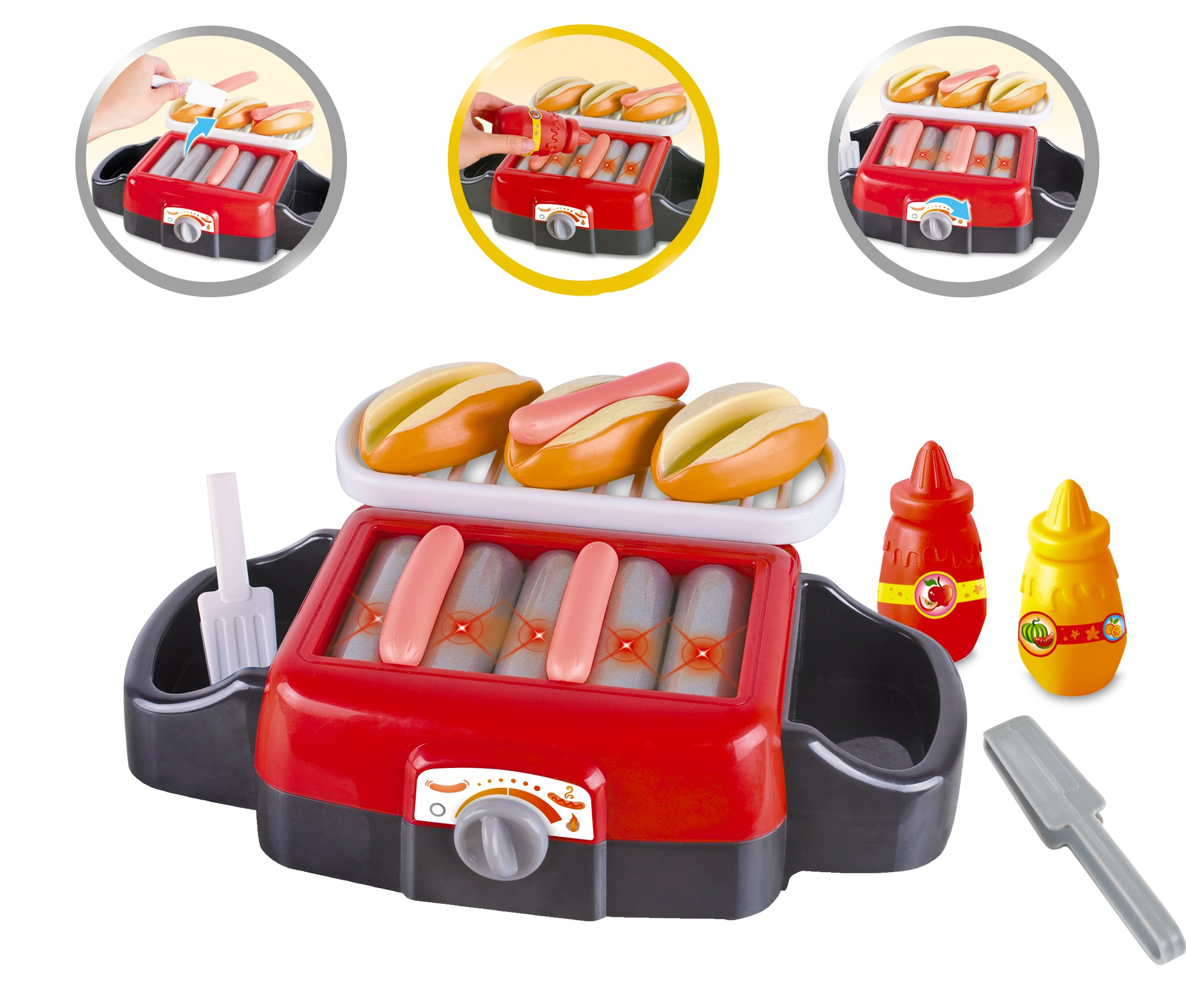 Liberty Imports Hot Dog Roller Grill Electric Stove Play Food Kitchen Appliance Set for Kids