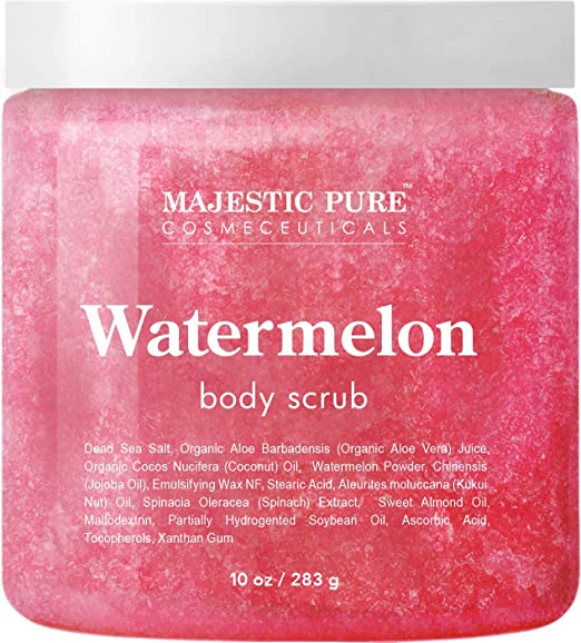 Majestic Pure Watermelon Body Scrub - Age Defying - Exfoliates, Hydrates, and Moisturizes Skin, 10 oz best body scrub