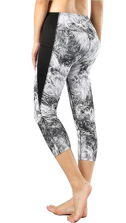6c3d08fb6e7d1 Sugar Pocket Womens Gym Workout Yoga Pants Patterned Capris with Side Pocket  S(823)