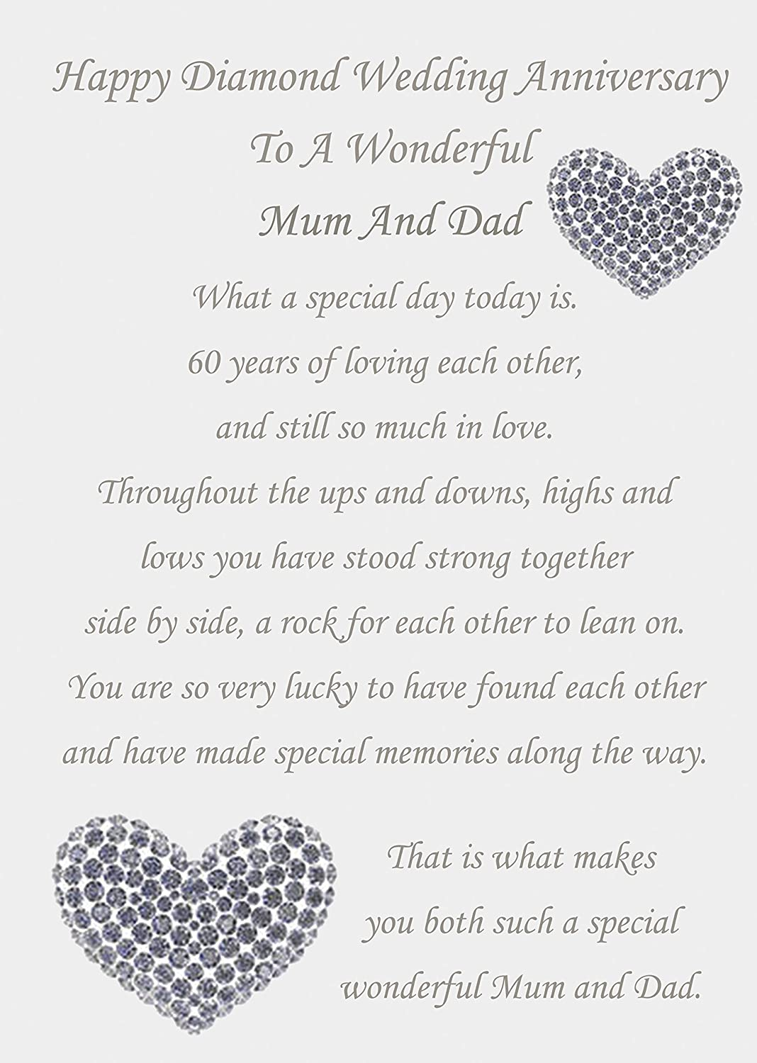 Happy 60th anniversary images mum dad diamond wedding anniversary card kristyandbryce Choice Image