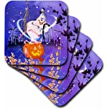 3dRose cst_4424_3 Halloween Ghost and Pumpkin-Ceramic Tile Coasters, Set of 4