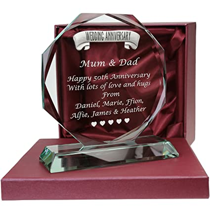 De Walden 50th Wedding Anniversary Engraved Personalised Glass Gift