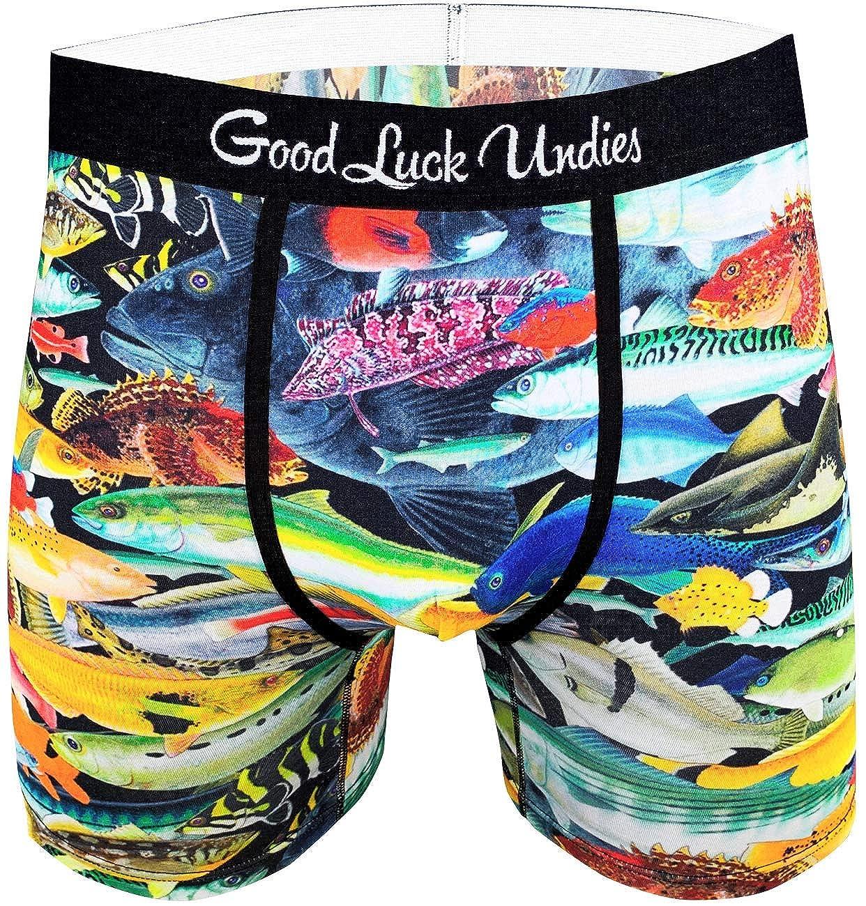 Good Luck Undies Mens School of Fish Boxer Brief Underwear