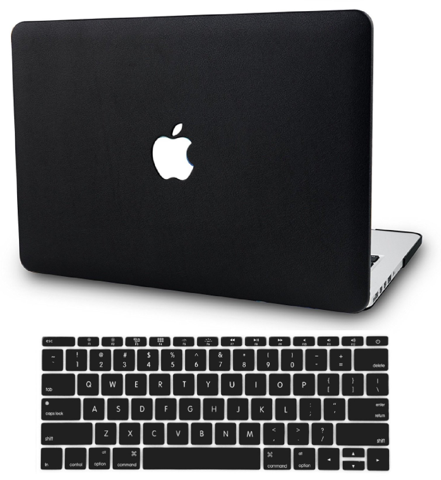 KEC Laptop Case for Old MacBook Pro 13'' Retina (-2015) w/ KeyBoard Cover Italian Leather Case A1502/A1425 (Black Leather)