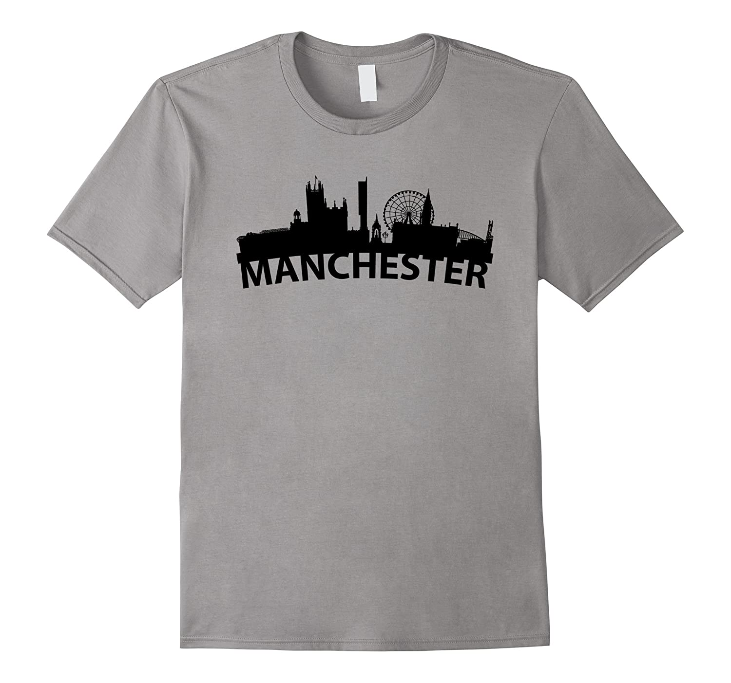 Curved Skyline Of Manchester England T-Shirt-Vaci