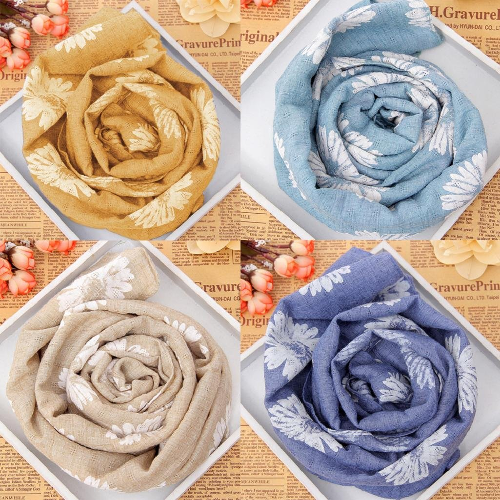 Honghong Flower Grid Baby Girls Scarf Cotton Linen Neck Warmer Muffler Gift for Xmas