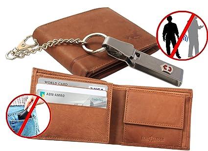 SAFEPRINT Keepers compacto Segura Monedero (con cadena Victorinox y RFID/NFC Tecnología de Protección. Smart Diseño marrón marrón bi-fold