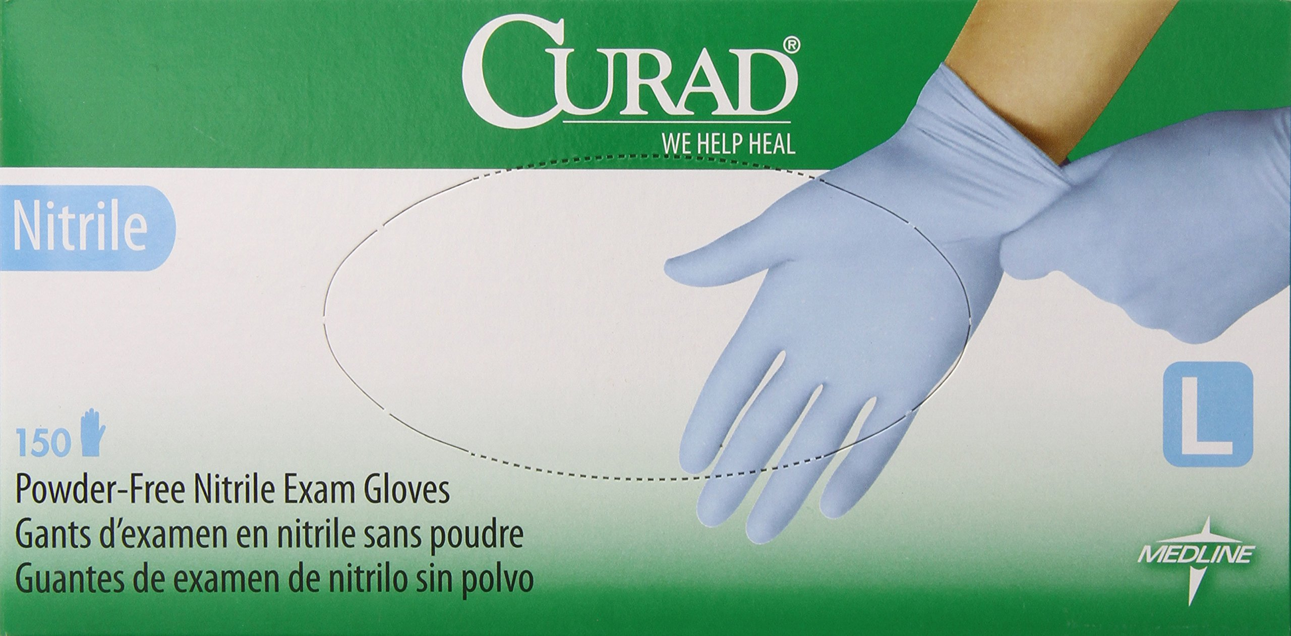 Curad Powder-Free Nitrile, Large, 150 Count