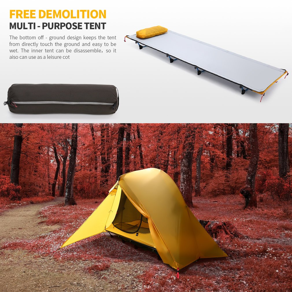 OUTAD Camping tents 15D nylon double-sided silicone tents Portable Multifunctional Off Ground Tent by OUTAD (Image #3)