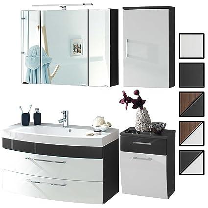 Badmöbel-Set VERONA Large Anthrazit Weiß 4-tlg, Spiegelschrank 90 cm LED  beleuchtet, Waschtisch-Unterschrank 100 cm mit 2 Schubladen, Badezimmer ...