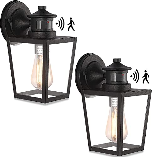 Set of 2 Motion Sensor Wall Light Fixture,10.5'' Security Infrared Induction Lamp Dusk to Dawn Outdoor Wall Light