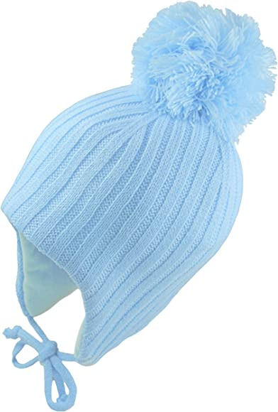 Pesci Baby Boys Hats Wooly Winter Knitted Beanie with Ears Bear