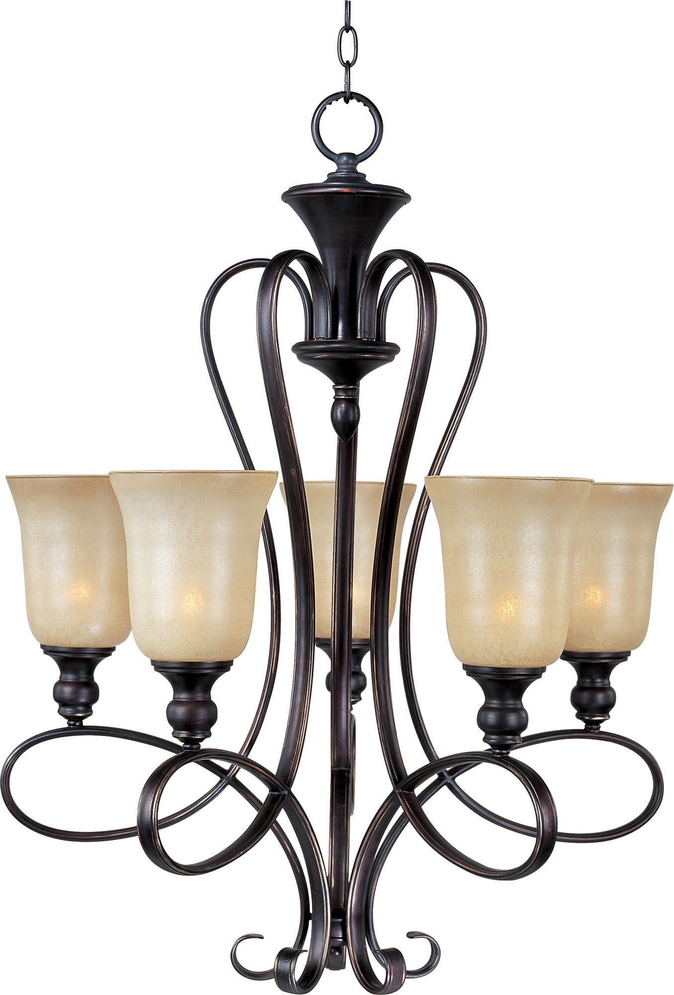 Maxim 21305WSOI Infinity 5-Light Chandelier, Oil Rubbed Bronze Finish, Wilshire Glass, MB Incandescent Incandescent Bulb , 100W Max., Dry Safety Rating, Standard Dimmable, Opal Glass Shade Material, 6900 Rated Lumens