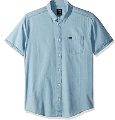 RVCA Mens Dead Flag Washed Short Sleeve Woven Button Front Shirt: Amazon.es: Ropa y accesorios