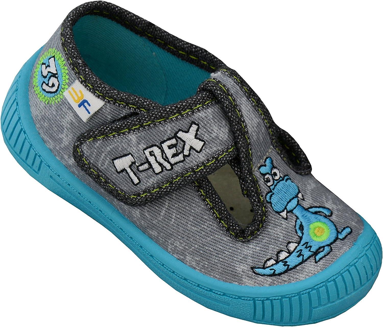 T-Rex 3f freedom for feet -Chaussures pour Gar/çons Enfants 1-4 ans -Premi/ères Chaussures pour Petit Gar/çon -Fermeture /à Toucher 19-27 EU Semelle Int/érieure en Cuir Naturel -Dino Souris Football