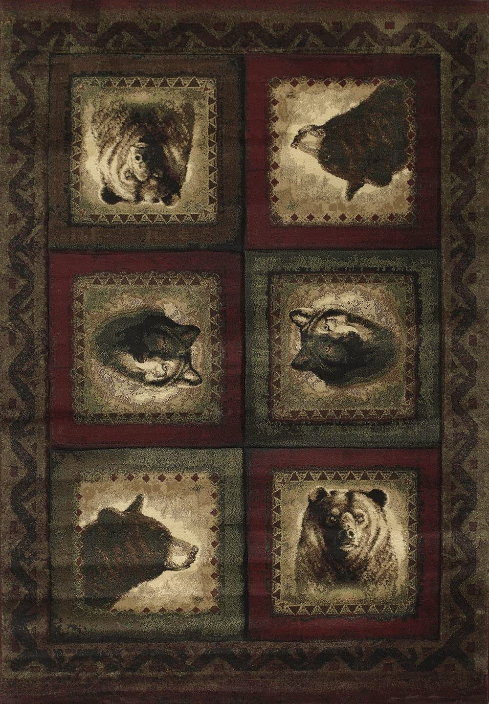 Bears wolf Burgundy Contours jq Collection 27234 5 3 x 7 6 United Weavers Rug