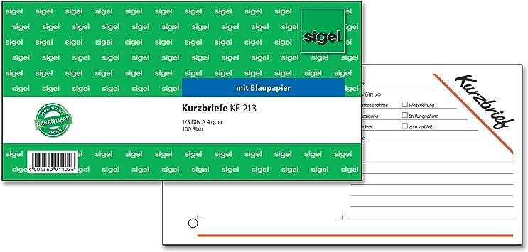 100 Bl. Sigel® Kurzmitteilungen »Kurzbrief« 1//3 A4 quer
