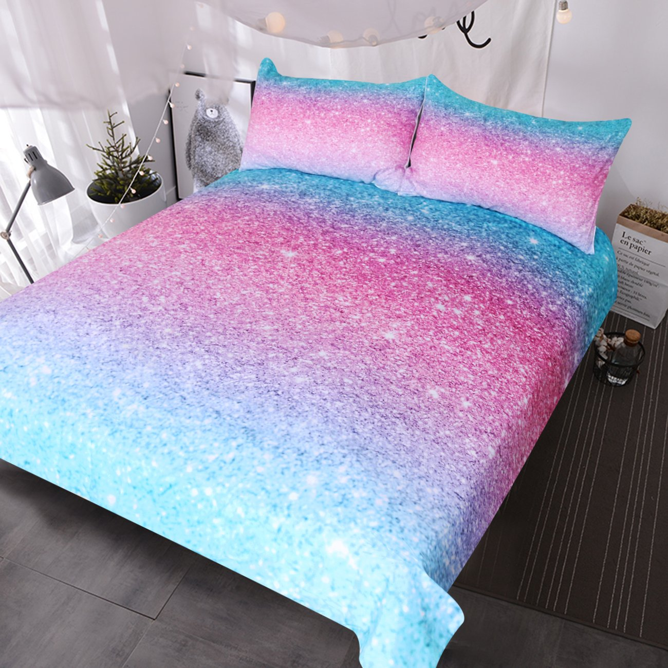 BlessLiving Colorful Glitter Bedding Girly Turquoise Blue Pink and Purple Pastel Colors Duvet Cover 3 Piece Trendy Bed Spreads (Twin) by BlessLiving